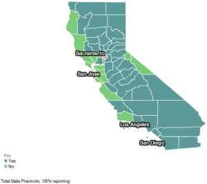 Prop 8, statewide vote by county
